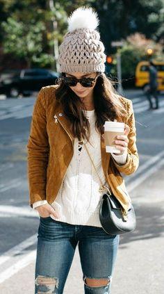 #winter #fashion /  Grey Beanie // Camel Jacket // White Knit // Destroyed Skinny Jeans