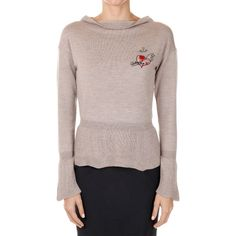 Vivienne Westwood Wool Boat Neck Sweater ($215) ❤ liked on Polyvore featuring tops, sweaters, beige, wool crew neck sweaters, long sleeve tops, boatneck top, boatneck sweater and beige sweater
