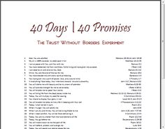 40 promises Printable~ Take one promise of God a day for 40 days and watch your faith, joy, and hope grow. Click over to download the (free) 40 Promises Printable Sheet