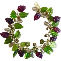Dark Burgundy and Green Glass Grapes Artisan Charm Bracelet -- found at www.rubylane.com #vintagebeginshere #winewednesday