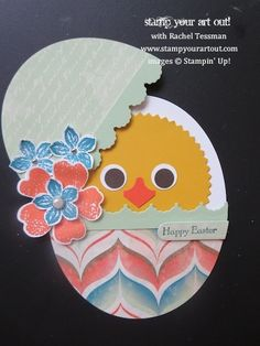 Peeking Chick Card using Venetian Romance designer paper, Oval Collections and Starburst framelits, Flower Shop stamp set, and Petite Petals. Diy Easter Cards, Easter Crafts, Egg Crafts, Punch Art Cards, Diy Ostern, Folded Cards, Kids Cards, Cool Cards, Greeting Cards Handmade