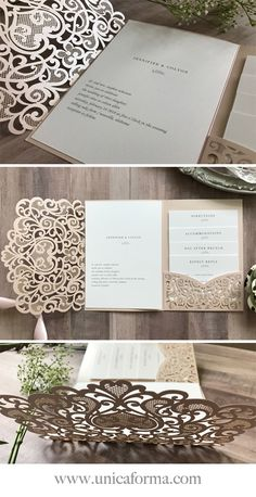 Ideas For Diy Wedding Invitations Ideas Dyi Bridesmaid Dresses Creative Wedding Invitations, Laser Cut Wedding Invitations, Elegant Wedding Invitations, Laser Cut Invitation, Pocket Invitation, Invitation Envelopes, Diy Invitations, Invitation Suite, Invitation Ideas