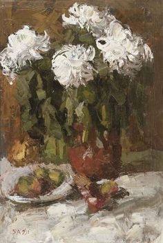 A still life with flowers and fruits, Sa Dji. Dutch (1915 - 2005)