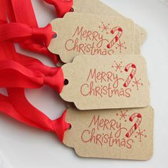 Candy Cane Tags Merry Christmas Favor Tags by FreshLemonBlossoms, $4.95