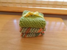 3 knitted dish cloths by SecChnceTreasure on Etsy, $11.00