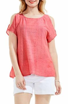 Two by Vince Camuto Stripe Gauze Cold Shoulder Top