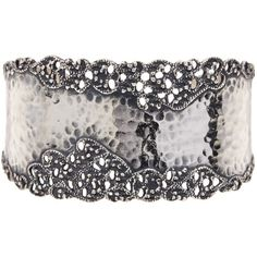 Sterling Silver Lace Textured Cuff - Multiple Lengths Available ($161) ❤ liked on Polyvore featuring jewelry, bracelets, silver, cuff jewelry, sterling silver bangles, cuff bangle, sterling silver jewellery and sterling silver jewelry