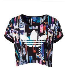 Adidas Originals Zx8k Pd Crp Tee ($28) ❤ liked on Polyvore featuring tops, t-shirts, shirts, crop tops, multicoloured, womens-fashion, tee-shirt, crop tee, tall t shirts and round neck t shirt