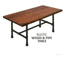 Farmhouse Table Dining Table Rustic Wood & Pipe Table