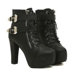 $19.56 Sexy Women's Short Boots With Black Chunky Heel and Buckle Design