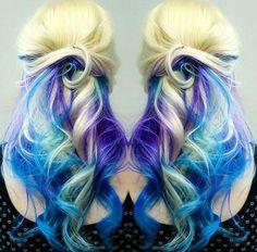 Blond blue purple hair