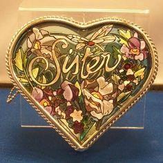 Amia Heart Shaped Handpainted Glass Sister Jewelry Box