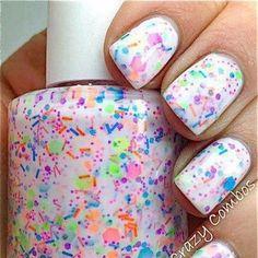 White base with confetti polish  @prettypicturesgirls