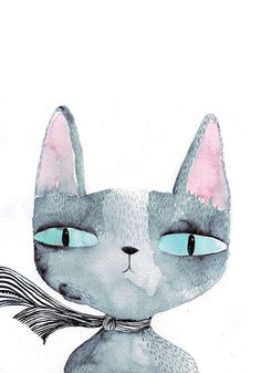 Blue eyed cat card by lukaluka on Etsy, $4.00