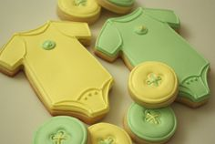 Cute as a button - baby shower themed sugar cookies