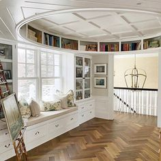This post looks at how creative architecture is used to create the most wonderful reading space. Round Bookshelf, Bookshelves Built In, Bookcases, Custom Home Builders, Custom Homes, Round Building, Decoration Bedroom, Interior Design Inspiration, Design Ideas