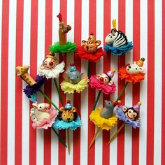 Circus/Carnival Cupcake Toppers. $38.00, via Etsy. How adorable. Seriously cute.  ‪#‎socialcircus‬