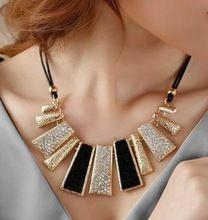 Novo estilo Vintage de corda preto irregulares figura geométrica curto strass colar projeto frete grátis(China (Mainland))