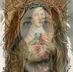 Jesus Christ and Mother Mary. Pictures Of Jesus Christ, Religious Pictures, Religious Art, Sainte Therese De Lisieux, Ste Therese, Image Jesus, Our Savior, Santa Teresa, Catholic Saints