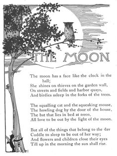 """CCM Gamma YR WK 4 Great Words 1 The Moon - Vintage illustration & poem from """"A Child's Garden of Verses"""" by Robert Louis Stevenson. Illustrated by Myrtle Sheldon. Donohue and Co, Beautiful Moon, Beautiful Words, Pomes, Kids Poems, Fable, Moon Goddess, Images Gif, Nursery Rhymes, Science Fiction"""