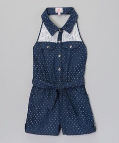 Another great find on Blue Polka Dot Lace Denim Romper - Toddler & Girls by Dollhouse Baby Girl Fashion, Kids Fashion, Little Girl Dresses, Girls Dresses, Toddler Girl Style, Toddler Girls, Kids Outfits, Summer Outfits, Denim Romper