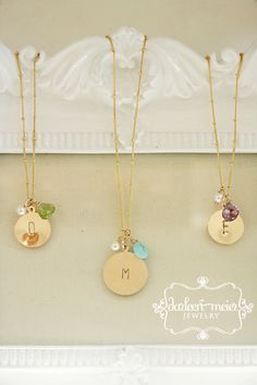 PERSONALIZED Initial monogram Birthstone Necklaces by darleenmeier, $48.00