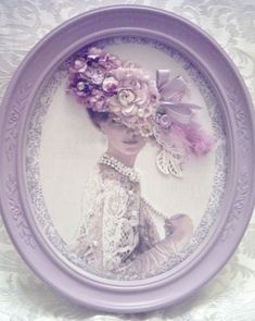 Victorian Lady with Hat - Lavender, Lilac, Lace and Ribbons Purple Love, Lilac Color, All Things Purple, Shades Of Purple, Lavender Cottage, Lavender Blue, Rose Cottage, Decoupage, Vintage Shabby Chic