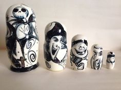 """Hand Painted 7"""" Russian Nesting Doll The Nightmare Before Christmas 5Pc Set"""