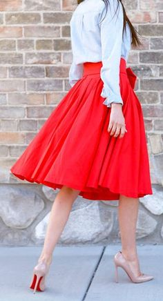 48d0476882 With A Leanne Barlow Red Midi Skirt. Spring Pink Peonies Chic Clothing Blue  Chambray Shirt Bow Pleated Skirt Barlow A-Line Midi Skirt Louboutin Pumps