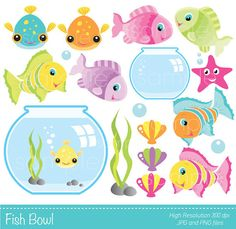 Digital Clipart Fish Bowl for Scrapbooking by YelloWhaleDesigns