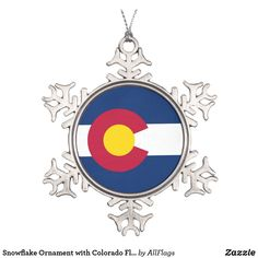 Shop Colorado Pewter Snowflake Ornament created by highaltitudes. Snowflake Ornaments, Ball Ornaments, Snowflakes, Flag Of Colorado, Elegant Christmas Trees, Family Memories, Holiday Festival, Chicago Cubs Logo