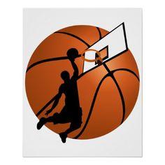 SOLD! - Slam Dunk #Basketball Player w/Hoop on Ball Print  shipping to Flushing, MI