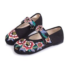 Embroidery Big Flower National Wind Hook Loop Flat Shoes