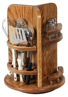 Amish Hardwood Kitchen Utensil Lazy Susan with Paper Towel Holder and Spice Rack
