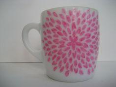 Chrysanthemum Pink Painted Milk Glass Mug by BInYourBonnet on Etsy, $6.00