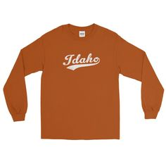 Vintage Idaho ID Long Sleeve T-Shirt with Script Tail Design Adult
