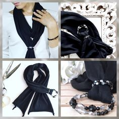 Black Scarf  Cotton Scarf  Scarves with Jewelry
