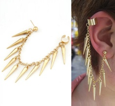 Gold Spiked Chain Ear cuff @Ashley Hodges