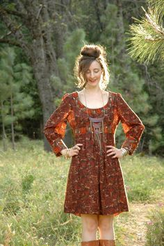l love everything about this look. I would pair with soft brown leather riding boots.  Folk Dress.. by AstralBoutique, $58.00