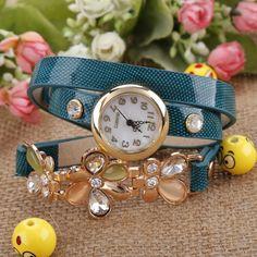 New Fashion Women's Flower Sling Chain Watch Wrap Circle Button Wristwatch
