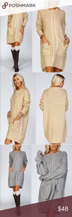 """🆕BLUE IVY Chunky sweater dress w/pockets - TAUPE BLUE IVY Chunky cable knit crochet sweater dress with front pockets   • Model is 5` 10"""" 34B-24-34 and wearing a size Small. Comfy oversized loose fit.   💠💠AVAILABLE IN H. GREY & TAUPE💠💠   Fabric 65% cotton 35% polyester   🚨NO TRADE, PRICE FIRM🚨 Bellanblue Dresses Long Sleeve"""