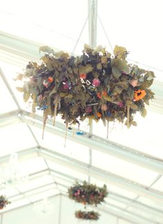 Hanging flowers look amazing hung from the ceiling of a lofty marquee. Marquee Hire, Marquee Wedding, Devon And Cornwall, Hanging Flowers, Exeter, Somerset, Plymouth, Corporate Events, Potted Plants