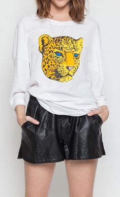 Graphic Cheetah Tee ( #joa, #tcheetah, #tee, #graphic, #graphictee, #graphiccheetah, #animalface, #screentee)