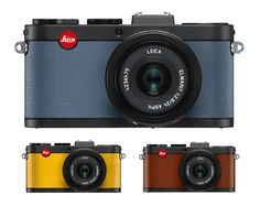 X2 a la carte compact camera by Leica From top, in Dove blue, organically tanned cognac and Lemon Yellow $2700