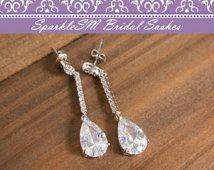 Rhinestone Crystal Drop Earrings, Bridal Earrings, Crystal Chandelier Earrings, Bridesmaids Gifts, Bridesmaids Earrings, SparkleSM, Gwen