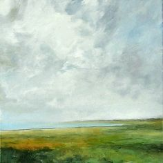 Large Landscape Oil Painting 36x36 CUSTOM Modern Abstract Sky Cloud BAY ART by J Shears.