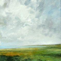 Large Landscape Oil Painting 36x36 CUSTOM Modern Abstract Sky Cloud BAY ART by J Shears. via Etsy.