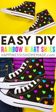 Easy DIY Rainbow Heart Shoes: These rainbow heart shoes are seriously adorable! Make your own DIY Rainbow Heart Shoes with the new Cricut EasyPress Mini! High Top Tennis Shoes, Cricut Mat, Mini Iron, Diy Fashion Projects, Iron On Vinyl, Black High Tops, Rainbow Heart, Diy Clothing, New Shoes