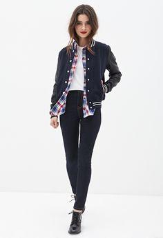 Faux Leather Varsity Jacket #F21StatementPiece