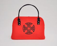 RED FELT BAG Stylish felt hand bag with Celtic by CelticSecrets